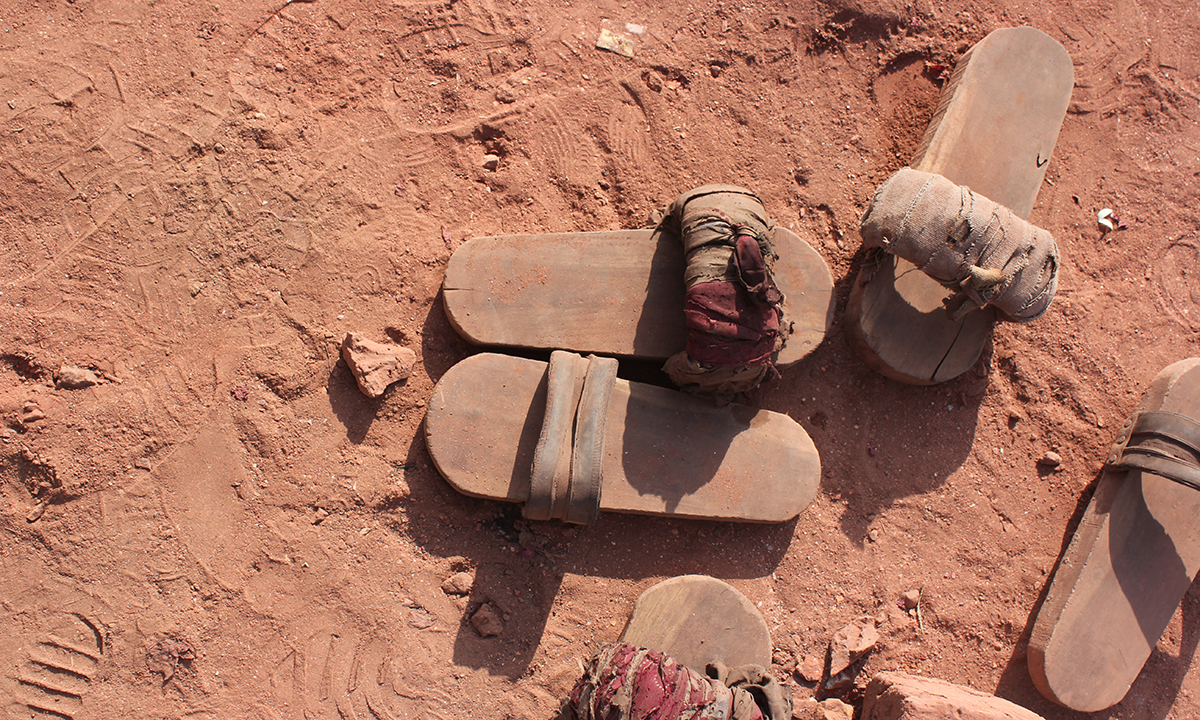 Wooden sandals of the bonded labourers. — Photo by Xari Jalil