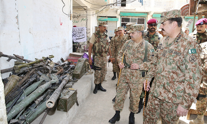 This picture shows Chief of Army Staff (COAS) General Raheel Sharif being shown different weapons and equipment recovered from terrorists in Miramshah. — Photo: ISPR