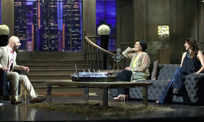 Saba Hameed and Meesha Shafi on 'Tonite with HSY'. – Photo credit: Tonite with HSY Facebook page