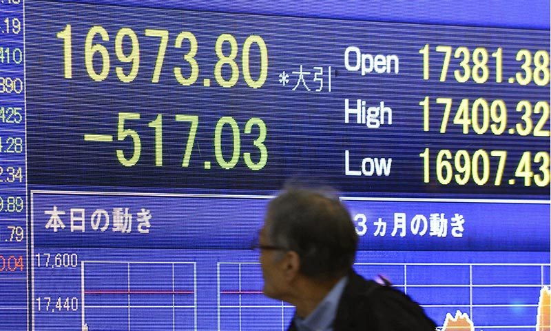 A man looks at the stock price board showing the Japan's benchmark Nikkei 225 index's huge dive of 517.03 points, or 2.96 per cent to 16,973.80. -AP Photo