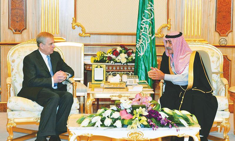 Riyadh: Saudi Arabia's Deputy Prime Minister Prince Muqrin bin Abdulaziz al-Saud meeting the Duke of York Prince Andrew, the second son of Queen Elizabeth, here on Monday.—AFP