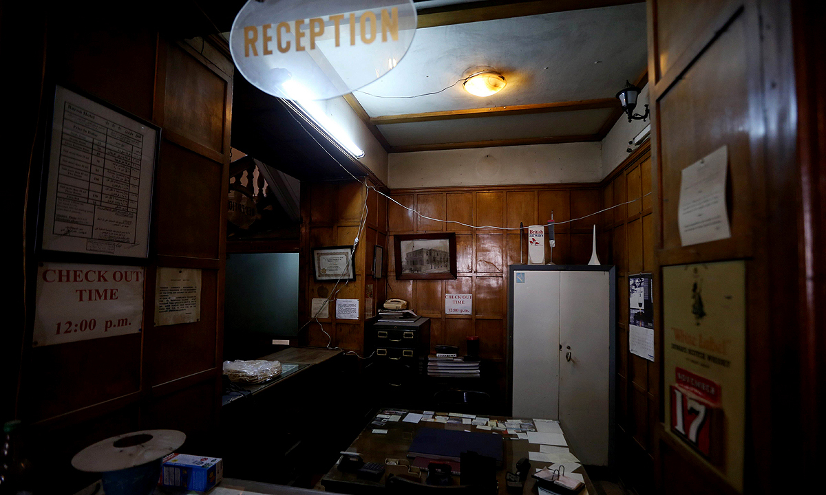 The reception desk of the Baron Hotel. —AFP