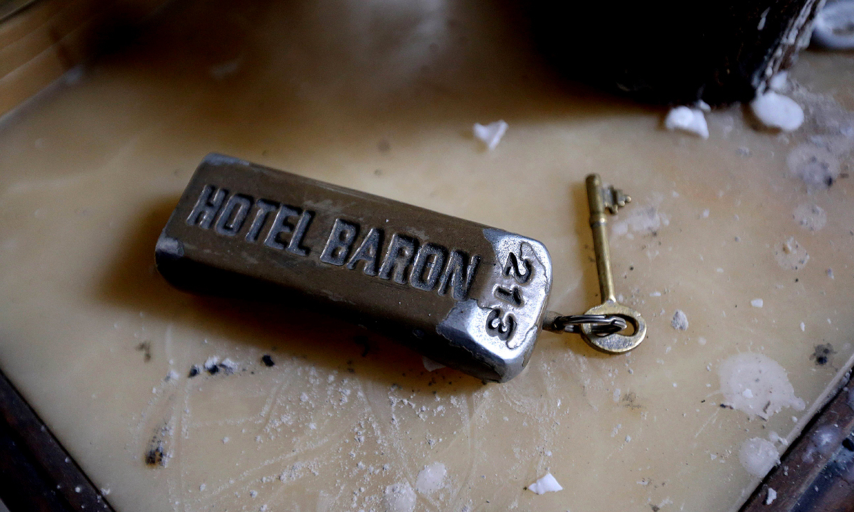 The key of the presidential suite of the Baron Hotel. —AFP