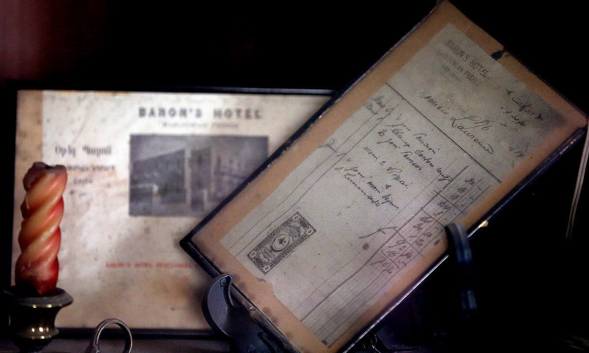 A receipt of British Army officer Thomas Edward Lawrence displayed at the Baron Hotel. —AFP