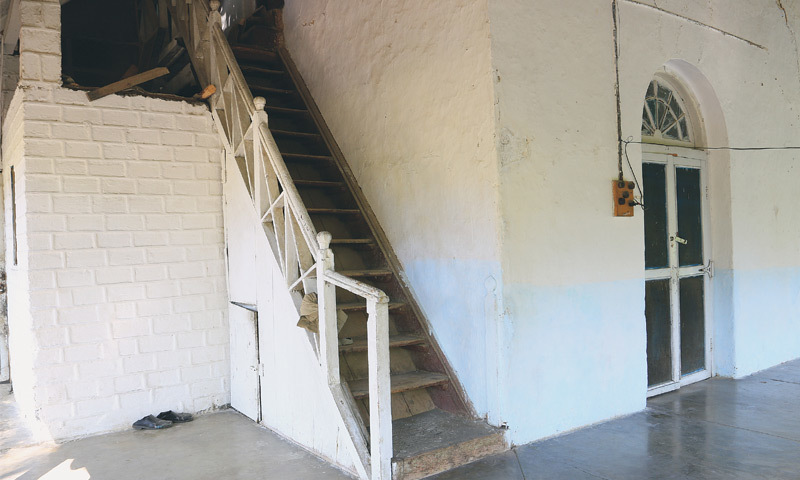 Stairs leading up to the once-haunted parlour
