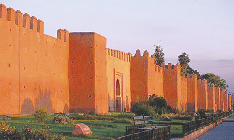 The sunlight-bathed walls of Marrakesh