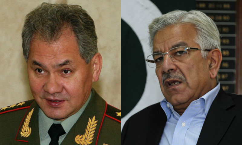 The agreement was signed during a meeting between visiting Defence Minister Gen Sergei Shoigu and Khawaja Asif. – File Photos