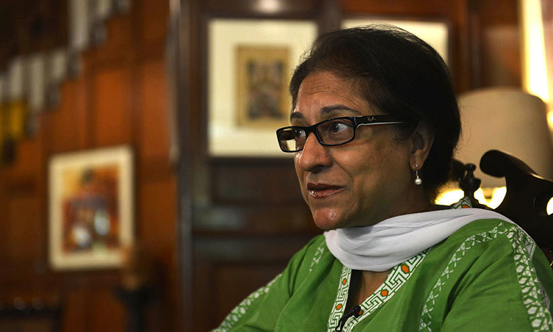 Leading human rights activist and Supreme Court lawyer Asma Jahangir gestures as she gives an interview to AFP in Lahore. - AFP photo