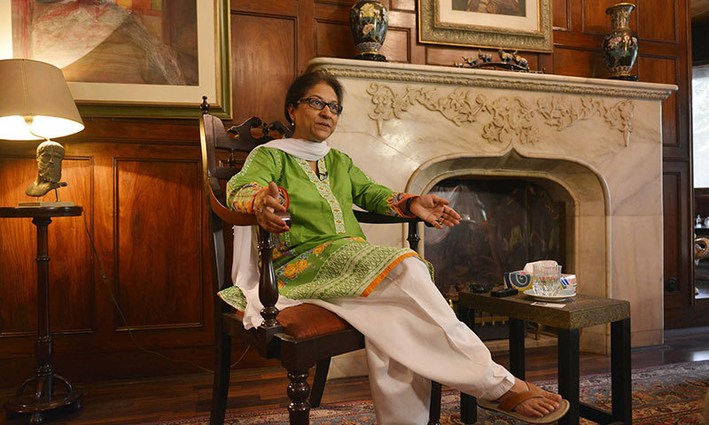 Pakistani leading human rights activist and Supreme Court lawyer Asma Jahangir gestures as she gives an interview to AFP in Lahore. - AFP photo