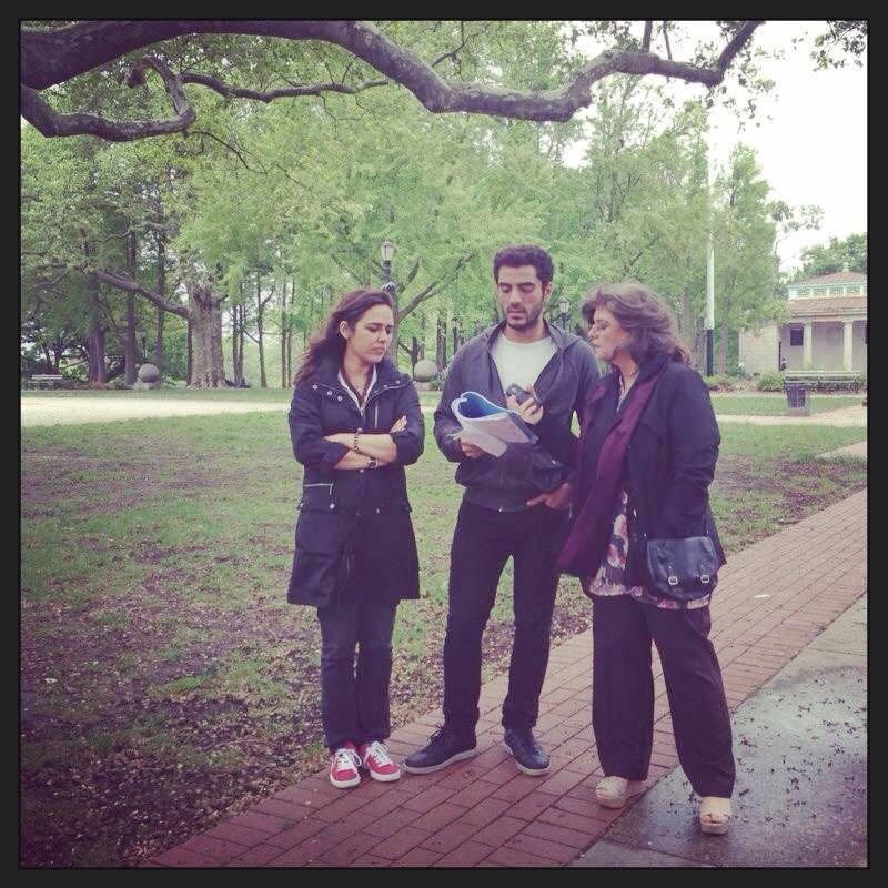Mehreen Jabbar with Adeel Hussain and Marina Khan on the set of 'Jackson Heights'.