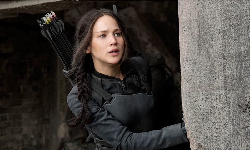 Jennifer Lawrence as the fearless Katniss Everdeen in 'The Hunger Games: Mockingjay Part 1'. – Publicity photo
