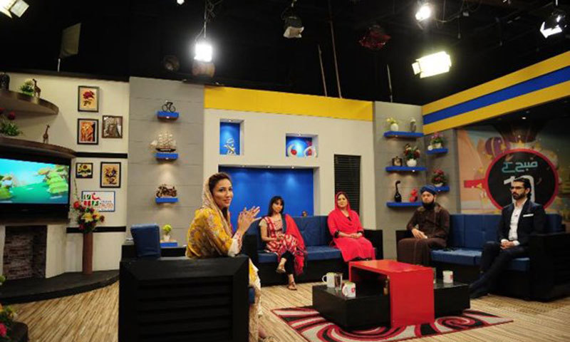 Anoushey Ashraf (L), hosts a morning show on Health TV in Karachi. — AFP/File.