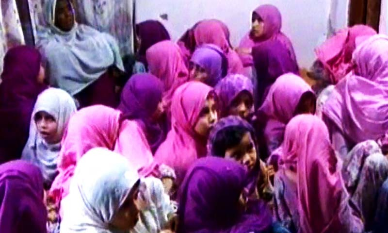 The minor girls who were recovered from the house in Liaquatabad's C-1 area of Karachi. - DawnNews screengrab