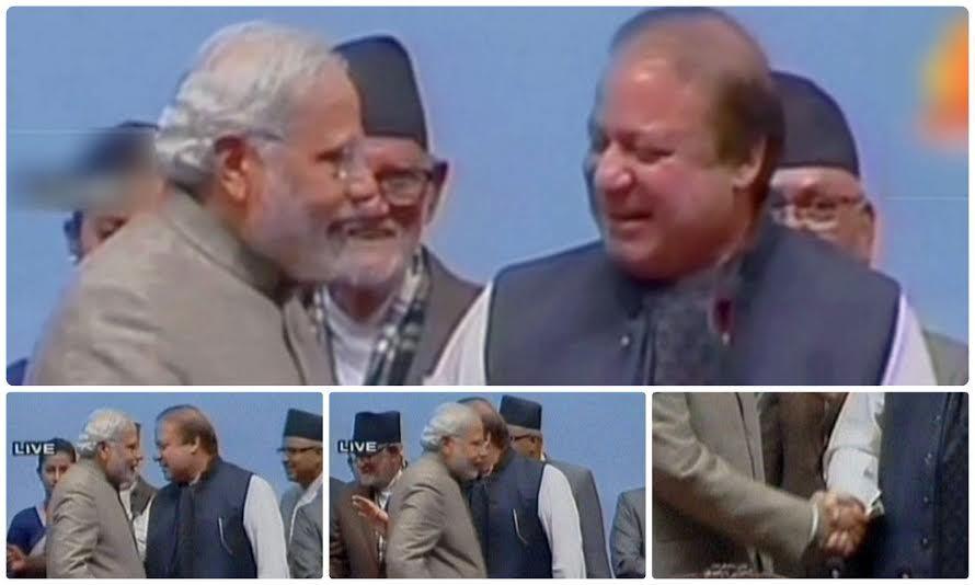 Modi and Nawaz exchanging greetings at the Saarc summit. - DawnNews screen grab