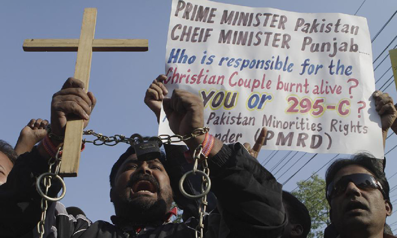 File photo shows Pakistani Christians during a demonstration in Lahore chanting slogans to condemn the killing of a Christian couple.—AP/File