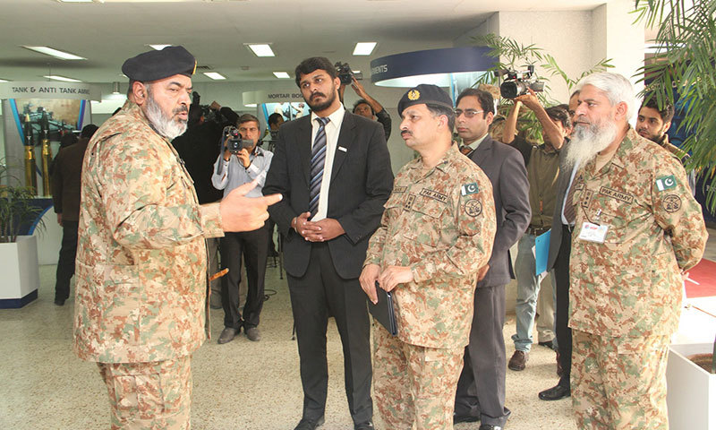 Chairman Lt. Gen. Muhammad Ahsan Mehmood speaking to journalists at the Pakistan Ordinance Factories (POF) in Wah.