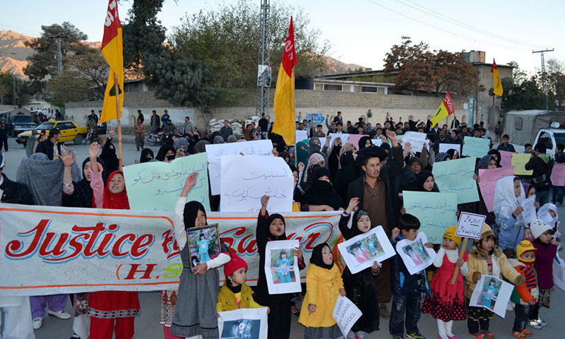 Photo from Nov 8, 2014 shows members of the ethnic Shia Hazara community protesting against the killing of Saher Batool in Quetta.—Syed Ali Shah