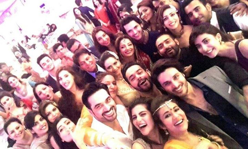 Sarwat Gilani and Fahad Mirza take a selfie with their celeb pals at their wedding. - Sarwat Gilani's Official Facebook page.