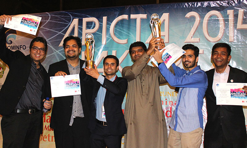 Team Pakistan won five Awards at the Asia Pacific ICT Awards ceremony held in Jakarta, Indonesia. -Press release photo
