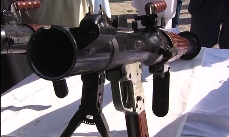 A rocket launcher seized by security forces in Balochistan is displayed for mediapersons.   — DawnNews screengrab