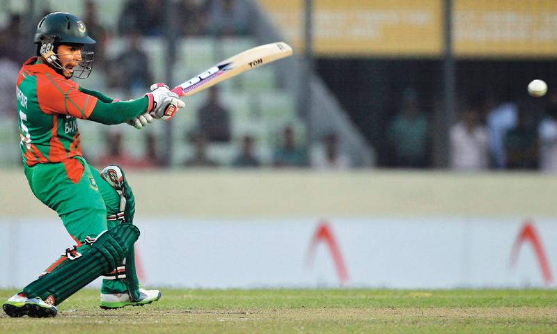 BANGLADESH'S Mushfiqur Rahim plays a shot through the off-side.—AP
