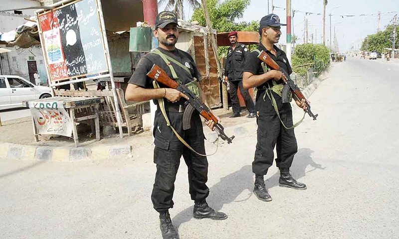 The picture shows security personnel on duty in Karachi. — Online/File