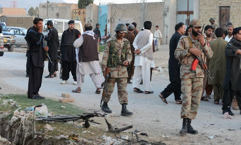 Police and FC personnel are seen at a blast site in Quetta. - AFP/File