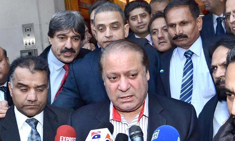 Prime Minister Nawaz Sharif talks to the media upon his arrival in London. -APP Photo