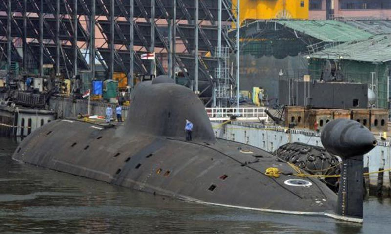 Indian Navy's INS Arihant submarine is pictured at the naval warehouse in the southern Indian city of Visakhapatnam. — Reuters/File