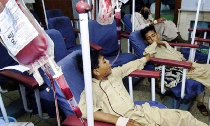 Thalassemia affected children during blood transfusion.—AFP/File
