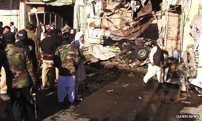 A view of the blast site in Quetta.  — DawnNews screengrab