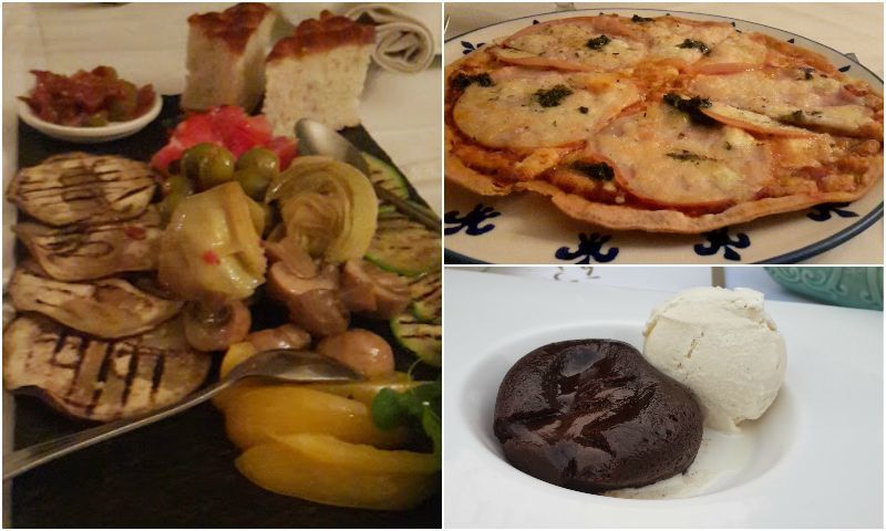From L to R: Antipasto platter at Cosa Nostra, Smoked Chicken & Pesto Pizza on a Whole Wheat Crust at Cosa Nostra (top right) and Chocolate Puddle Cake at the Polo Lounge (bottom right). – Photo by author