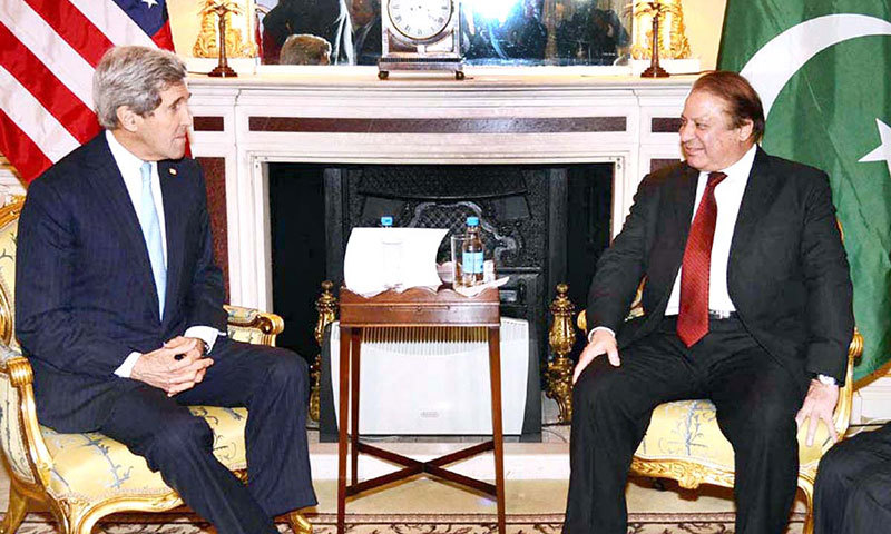 Prime Minister Nawaz Sharif meets US Secretary of State John Kerry on the sidelines of London Conference on Afghanistan on Thursday. – APP