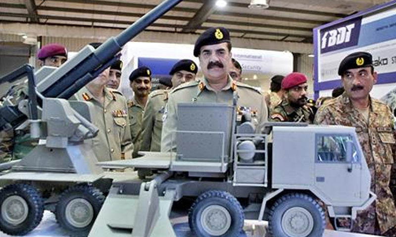 Chief of Army Staff Gen Raheel Sharif looks at equipment displayed at  the Ideas-2014 here on Thursday. — PPI