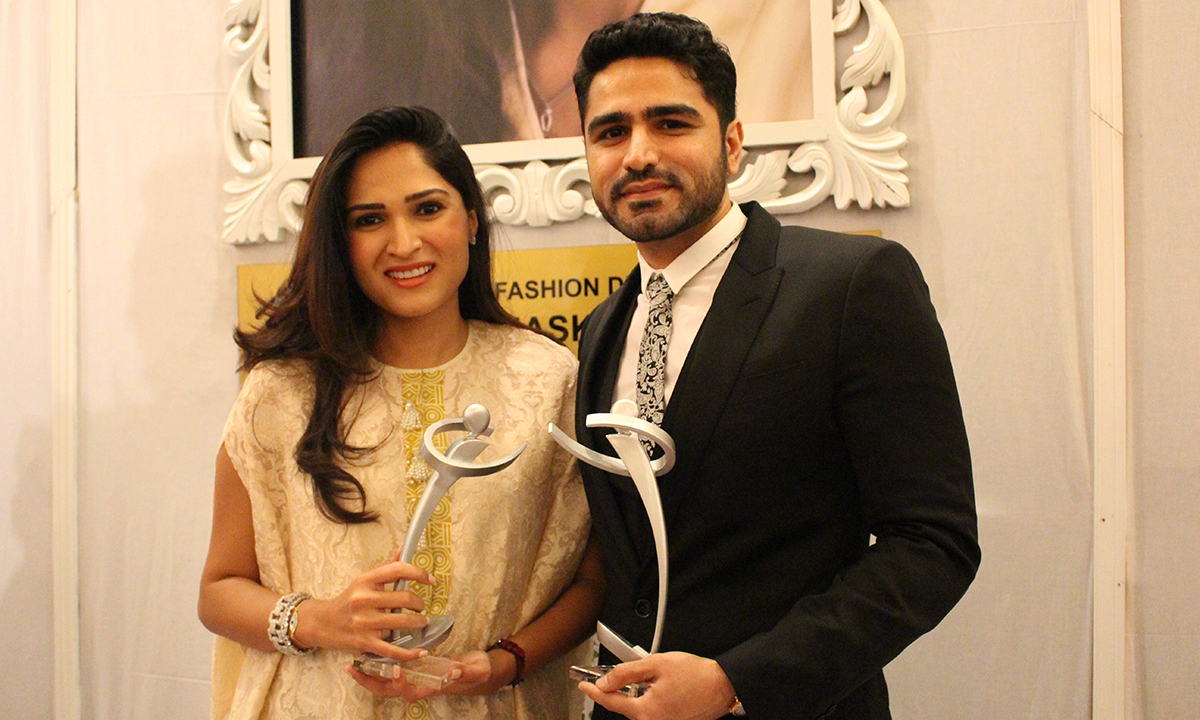 Sania Maskatiya won the Achievement award in Fashion Design - Luxury Pret award. — Photo by Mahjabeen Mankani