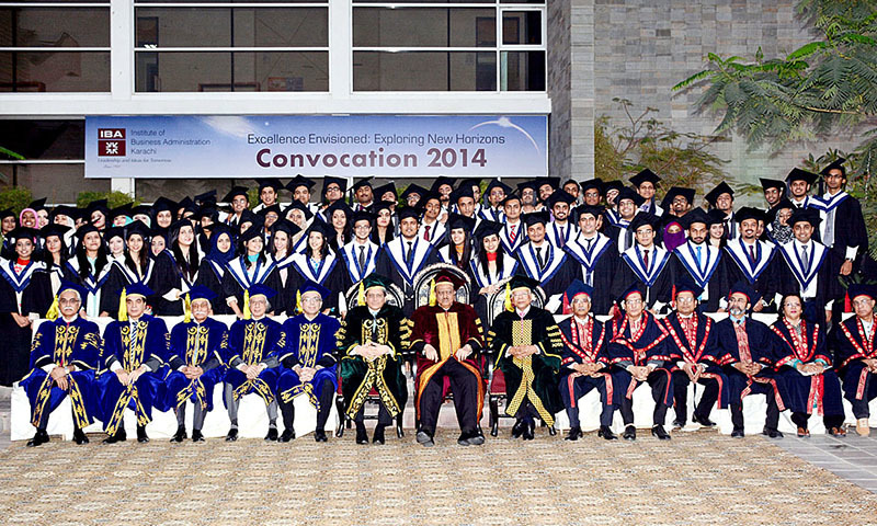 A group photograph of President Mamnoon Hussain with the students during the Convocation 2014 of Institute of Business Administration (IBA). — APP