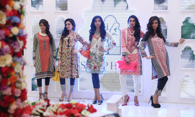 Models display the designs at the launch.- Photo courtesy: Kashif-ud-Din.