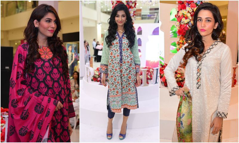 Amna Babar, Hira Tareen and Sana Ansari all clad in Sapphire. - Photo courtesy: Kashif-ud-Din.