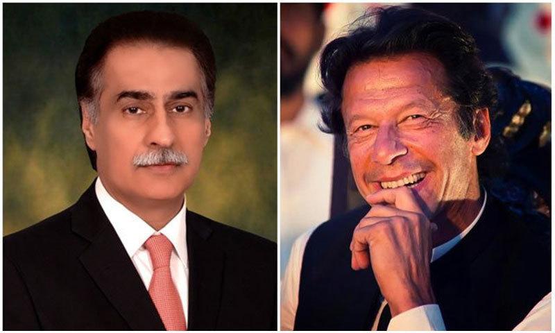 NA Speaker Ayaz Sadiq (L) PTI leader Imran Khan (R)