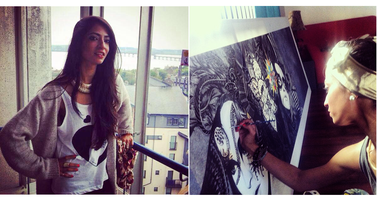 ((L) Naveen Shakil pictured at the Dundee School of Art and Architecture. (R) The artist is pictured adding the final touches to one of her paintings, which was also displayed at the Creative Karachi Festival 2014.