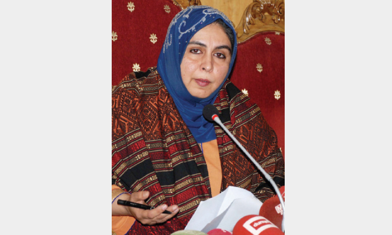 Amina Masood Janjua speaks at a press conference in Islamabad on Monday. — Online