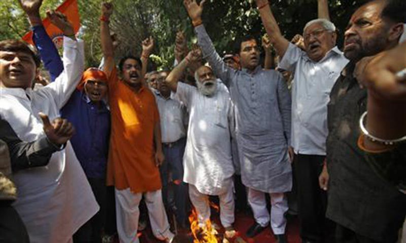 Activists from hardline Hindu group Bajrang Dal shout slogans during a protest. — Reuters/File