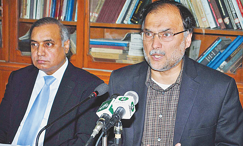 Minister for Planning and Development Ahsan Iqbal addressing a press conference.—APP/file