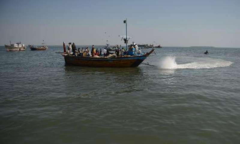 This photo shows fishermen sailing for hunt in the sea. — AFP/File