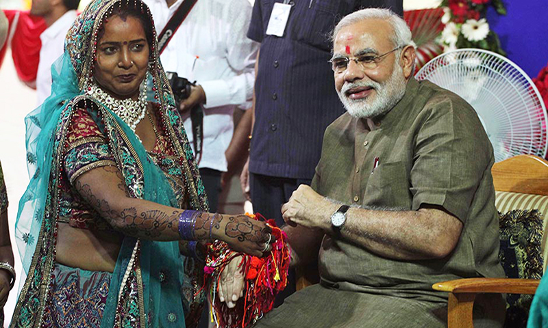 Mrs Modi thanking her husband for behaving as if she doesn't exist.