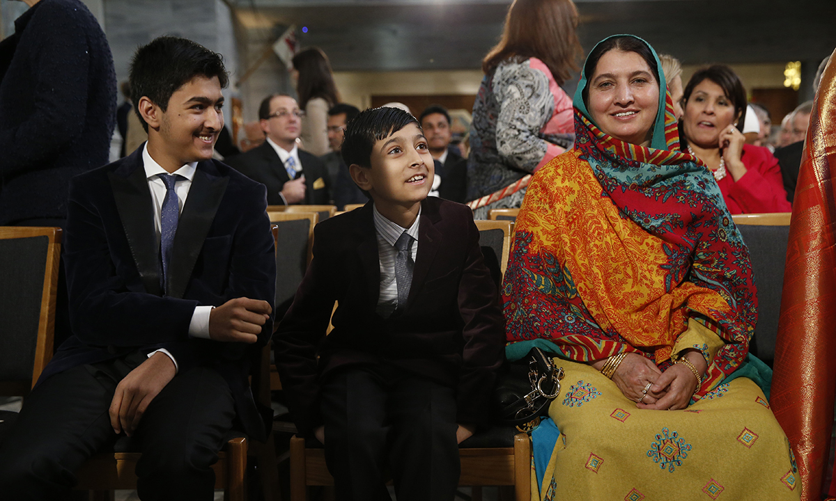 Family members of Peace Prize laureate Malala Yousafzai, her mother Tor Pekai Yousafzai, right, and her two brothers, khushal, left, and Atal, centre as they attend the award ceremony. — AP