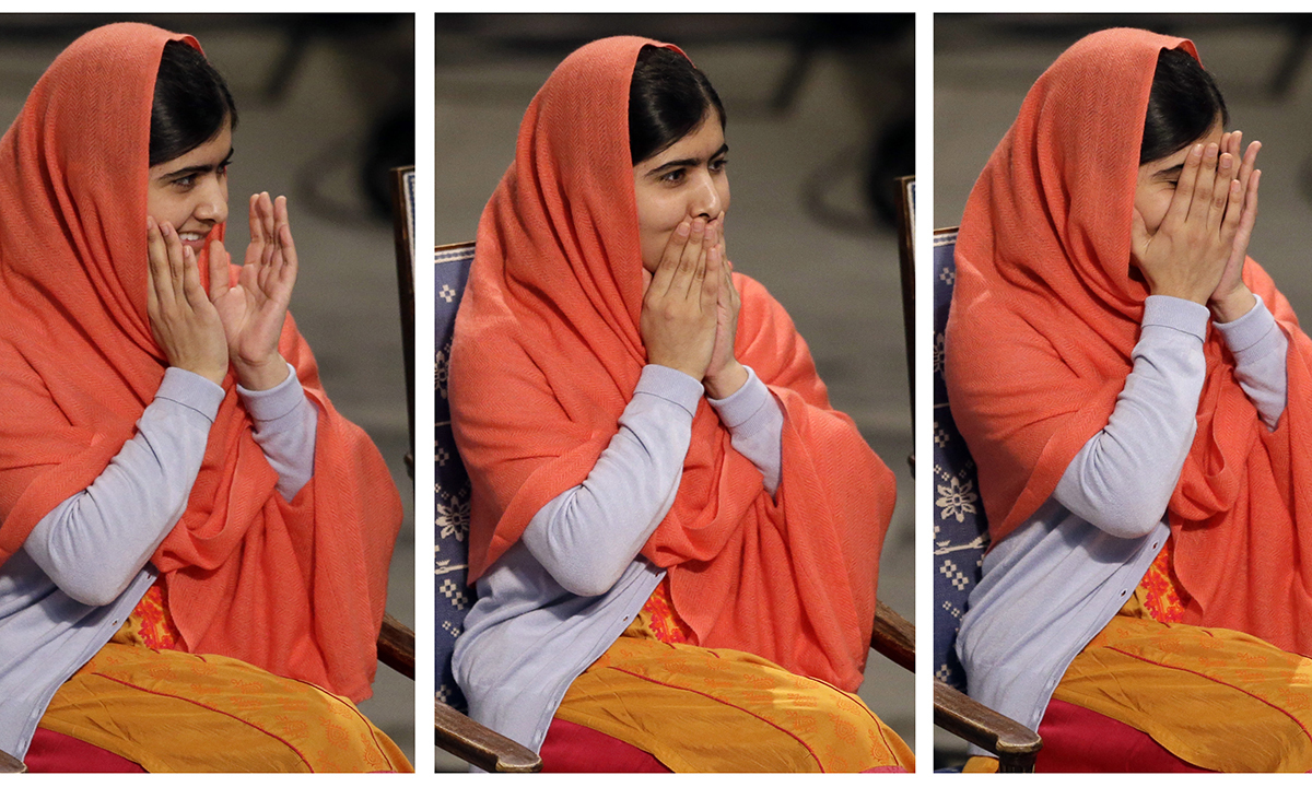 In this combo of three images Nobel Peace Prize winner Malala Yousafzai, puts her hands to her face as she sits  during the Nobel Peace Prize award ceremony. — AP