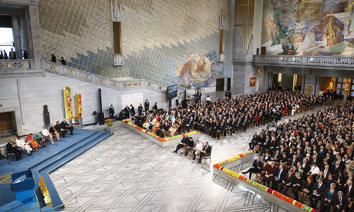 General view of the Nobel Peace Prize award ceremony at the City Hall in Oslo, Norway. — AP