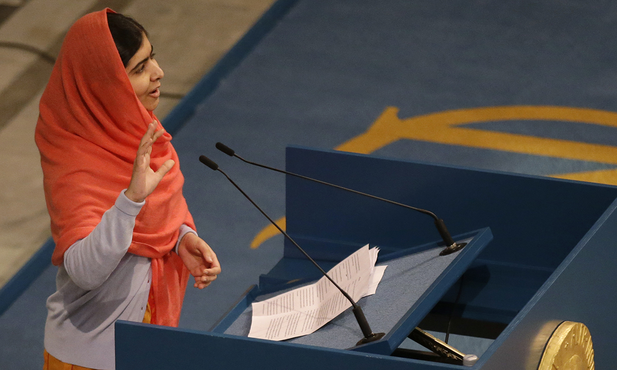 Malala Yousafzai makes an address after being  awarded the Nobel Peace Prize during the Nobel Peace Prize award ceremony. — AP