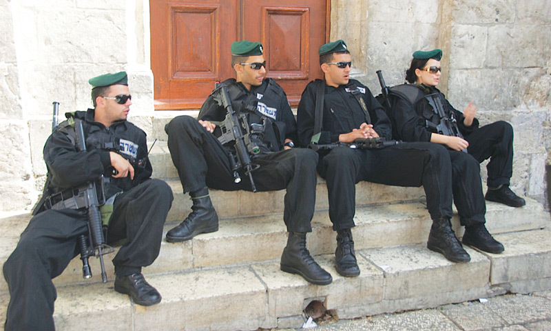 Israeli security is omnipresent in the Arab Quarter of Jerusalem. — Photos by the writer